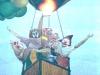 Luchtballon met clowns